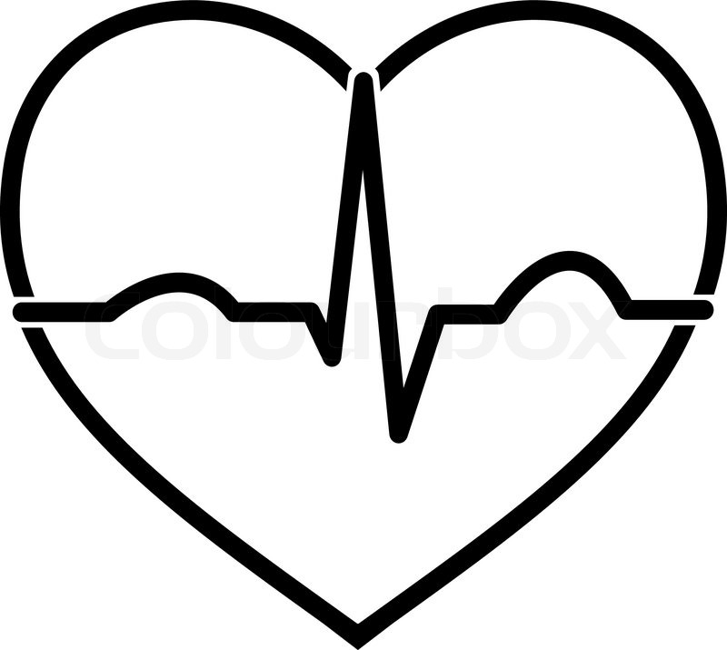 Minimal black and white heart ecg icon design | Stock ...