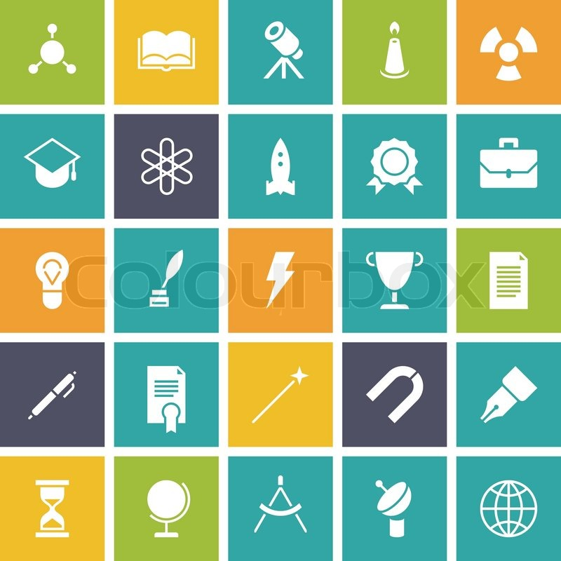 flat design icons for education and science vector illustration