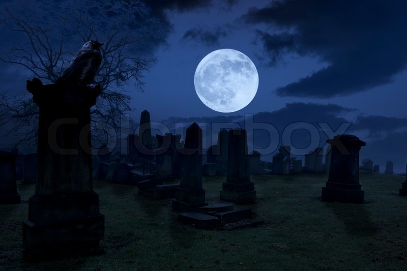 Spooky night at cemetery with old gravestones, full moon ...