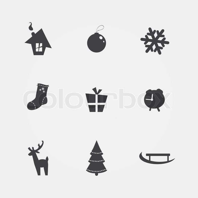 Christmas black icons on a white