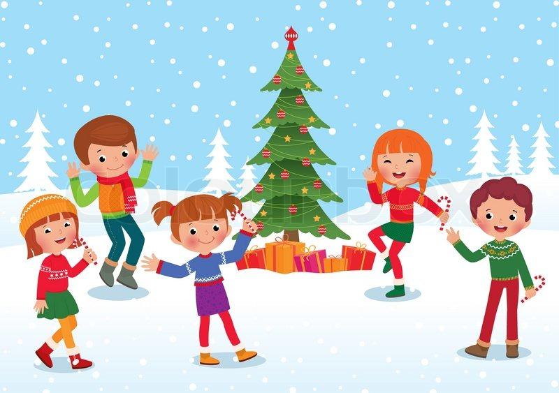 Christmas Celebration Cartoon Images.Children Celebrate The Winter Holidays Stock Vector