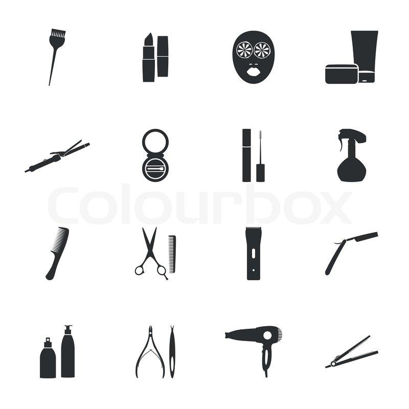 Beauty salon flat icons set vector graphic design