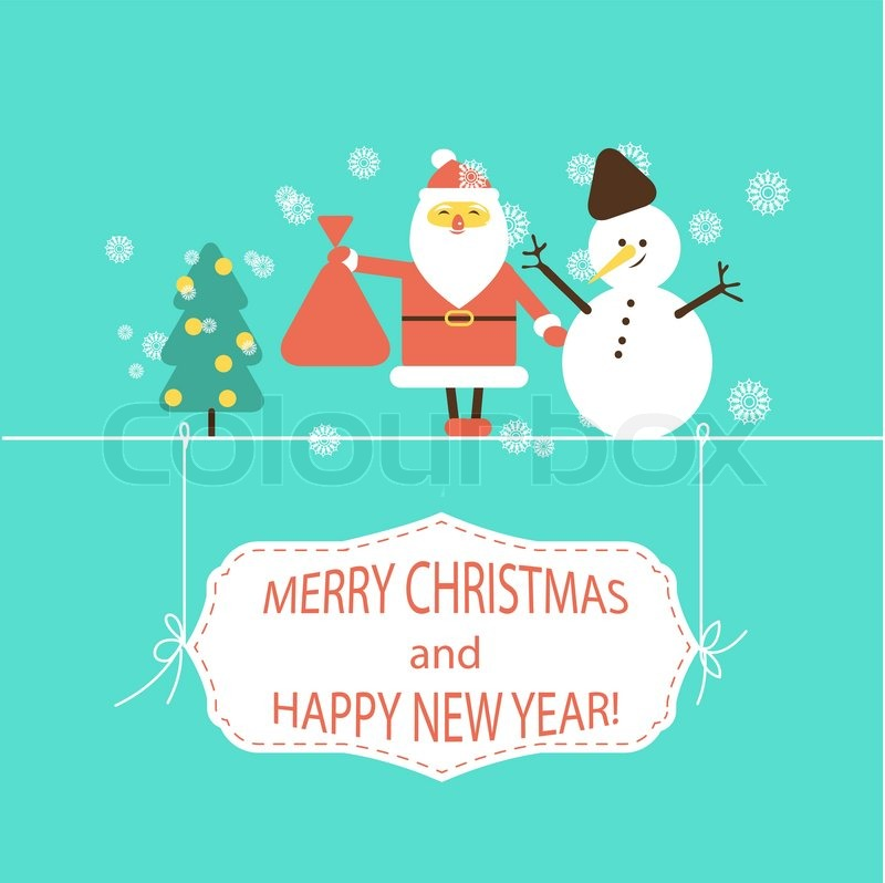 Christmas And New Year Flat Design Stock Vector Colourbox
