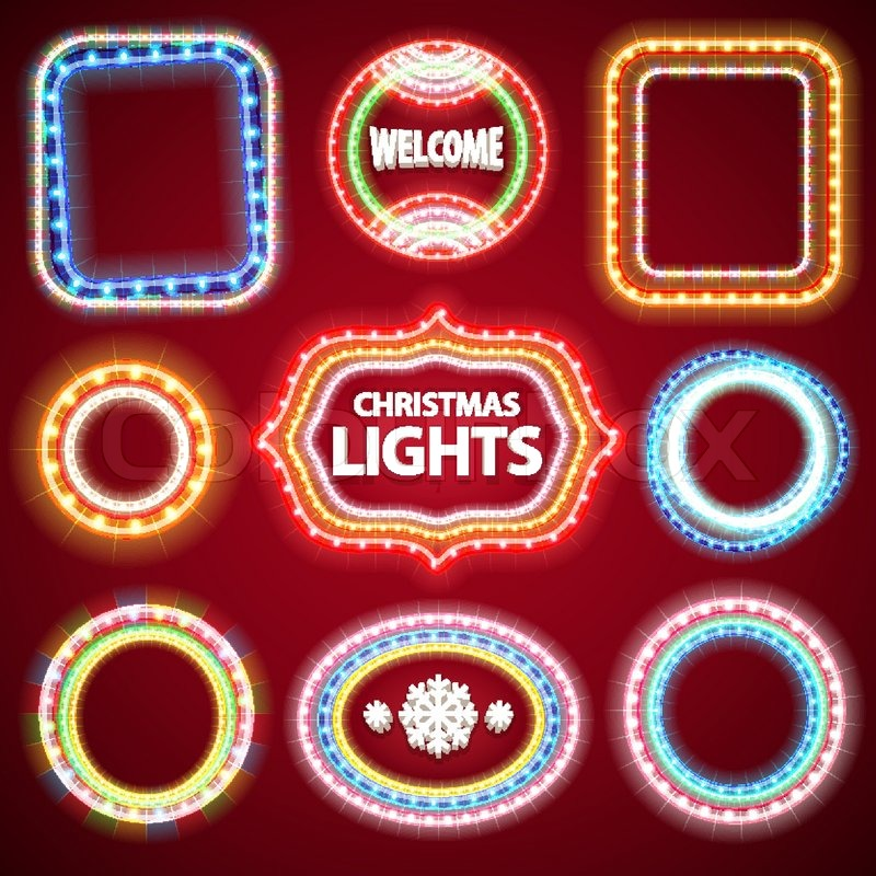 christmas neon lights frames with a copy space set2 for casino or christmas design used pattern brushes included stock vector colourbox