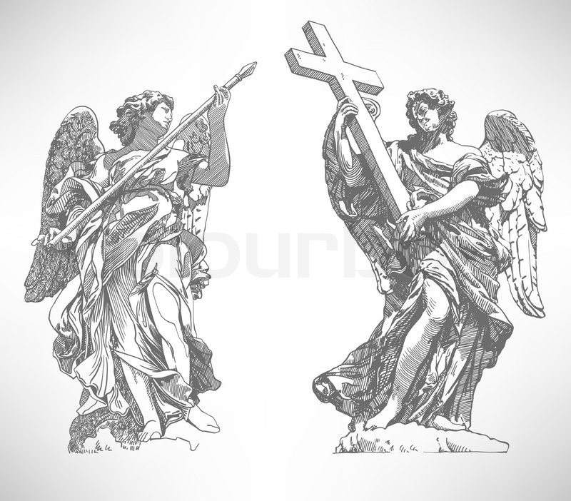 Grey Original Sketch Digital Drawing Of Marble Statue Two Angels From The SantAngelo Bridge In Rome Italy Vector Illustration