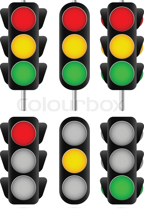 3 Different Traffic Light Set. Isolated And Versions With Poles /traffic  Lamps, Semaphores, Green, Red, Yellow And Stoplight/, Vector