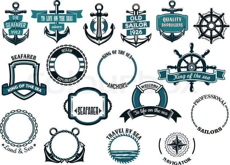 Set of nautical or marine themed icons and frames including ships ...