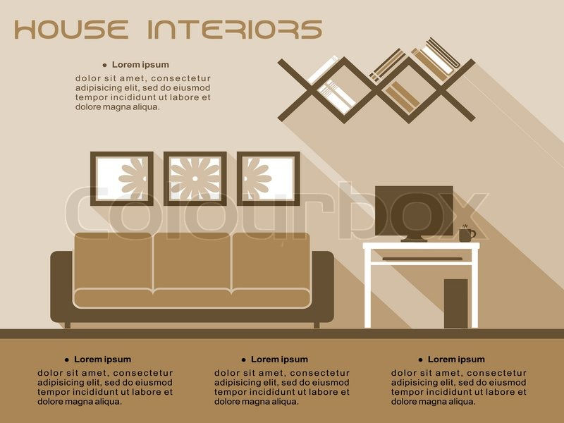 living room interior vector infographic template in shades of brown