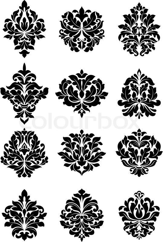 large set of bold floral arabesque motifs suitable for. Black Bedroom Furniture Sets. Home Design Ideas