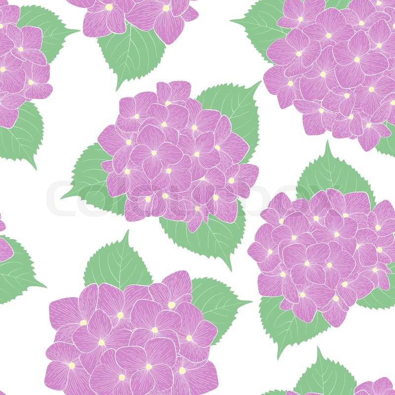 Beautiful seamless background with flower hydrangea . Hand-drawn contour lines and strokes. Perfect for background greeting cards and invitations to the day of wedding, birthday and Valentine\'s Day, vector
