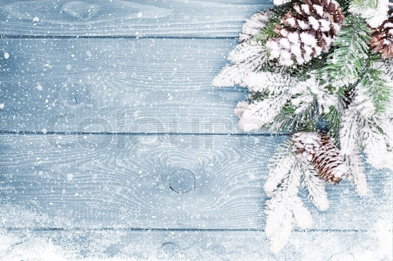 Image of old wood texture with snow and firtree christmas background