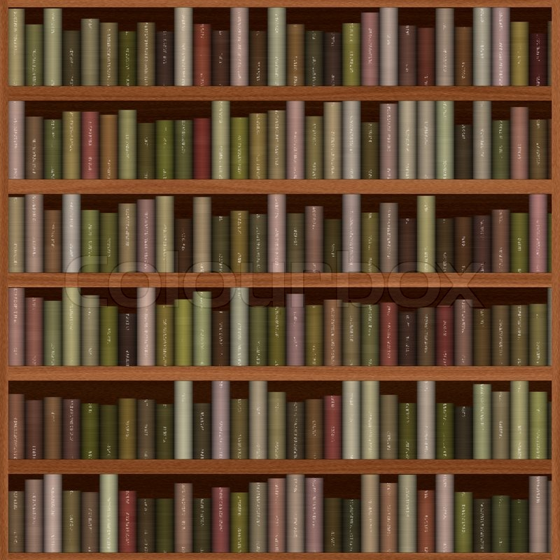 Old Wooden Bookshelf Texture With Books Stock Photo