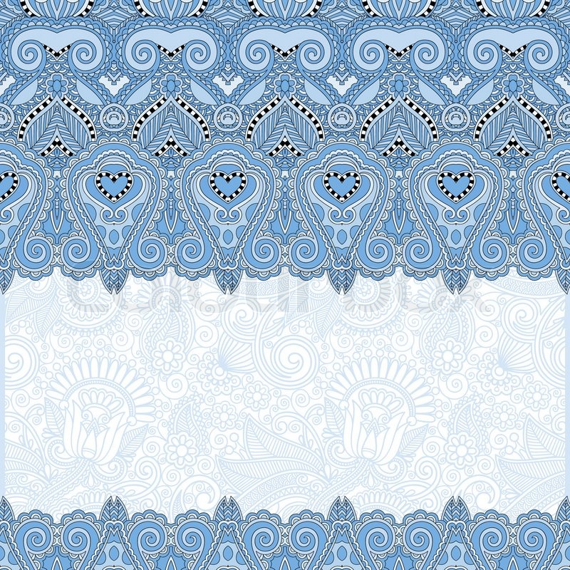 Ornamental Floral Folkloric Blue Colour Background For Invitation Cover Design Fabric Pattern Or Page Decoration Ethnic Border On Vintage Flower
