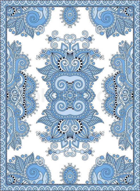 Blue Colour Ukrainian Floral Carpet Design For Print On