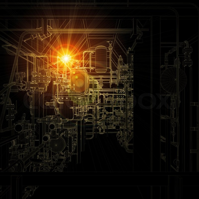 Bright Light And Dark Background Industrial Concept