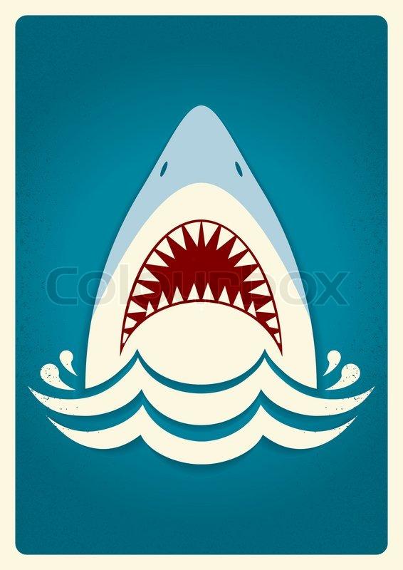 shark jawsvector blue background illustration for text
