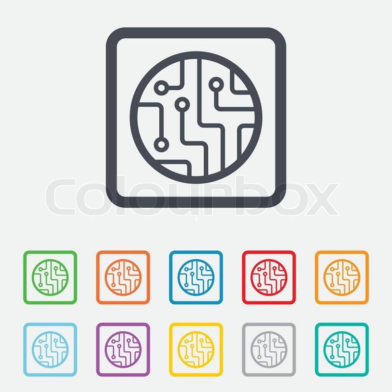 Circuit board sign icon. Technology scheme circle symbol. Round ...