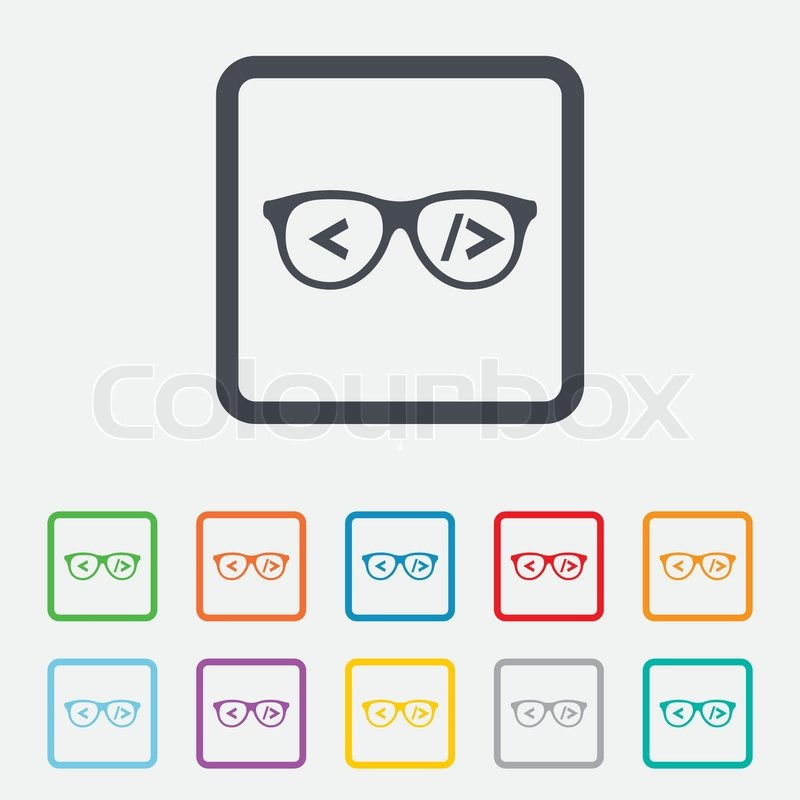 Coder sign icon. Programmer symbol. Glasses icon. Round squares buttons with frame. Vector ...