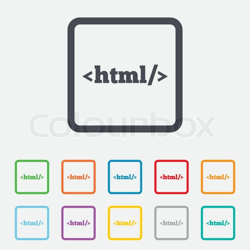 HTML sign icon. Markup language symbol. Round squares buttons with ...