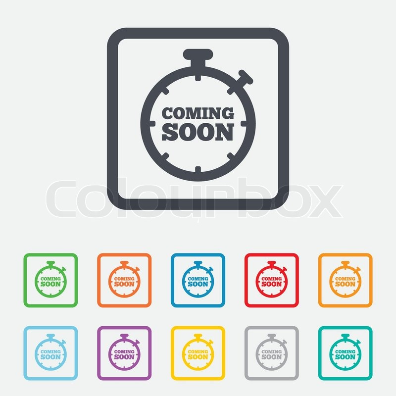 Coming Soon Sign Icon Promotion Announcement Symbol Round Squares