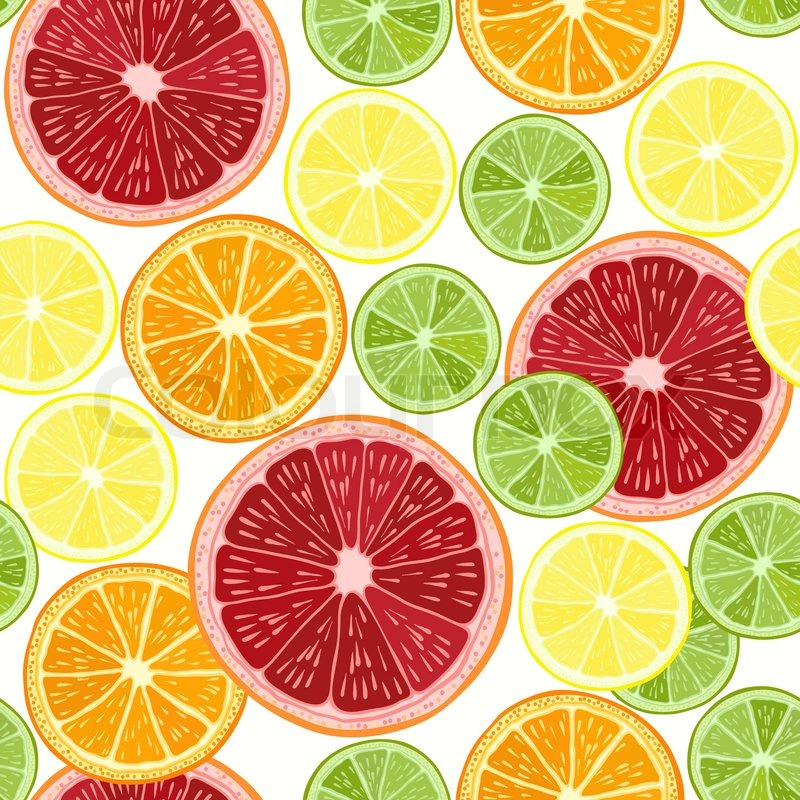 Seamless pattern with citrus fruit - grapefruit, orange ...