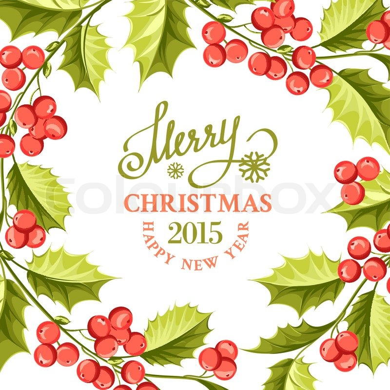 christmas mistletoe drawing over card with holiday text and border vector illustration stock vector colourbox - Mistletoe Christmas