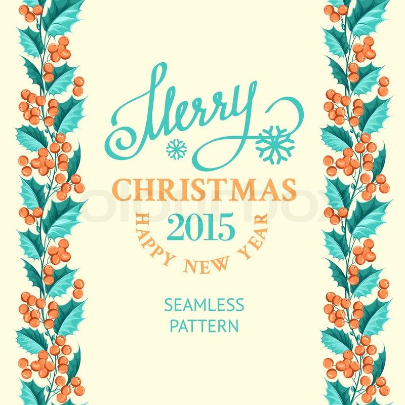 Christmas mistletoe drawing over card with holiday text and border ...