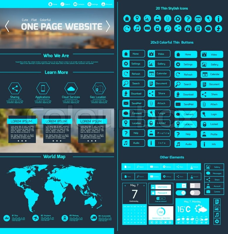 one page website design template with world map menu icons and