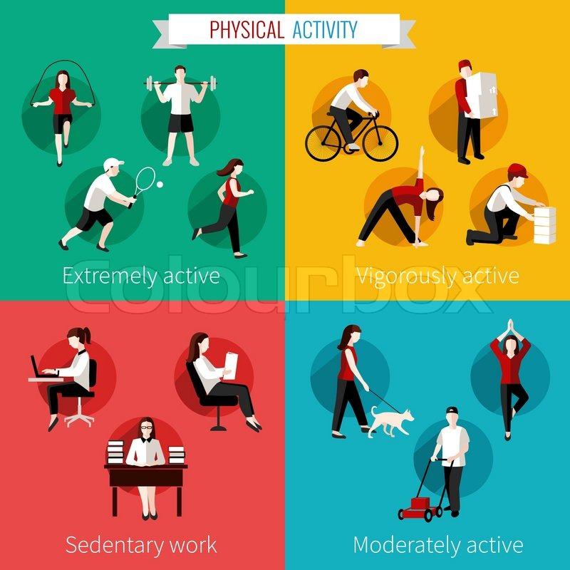 Sedentary Lifestyle: Physical Activity Flat Set Of Extremely Vigorously