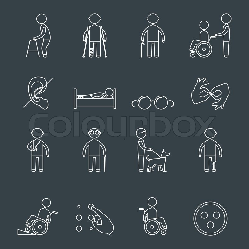 disabled people outline icons set of wheelchair blind deaf