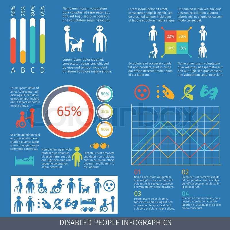 Disabled People Infographic Set With Charts And Disability Symbols
