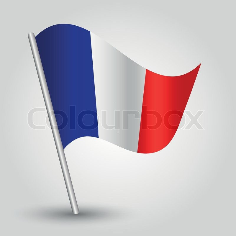 Vector 3d Waving French Flag On Pole National Symbol Of France