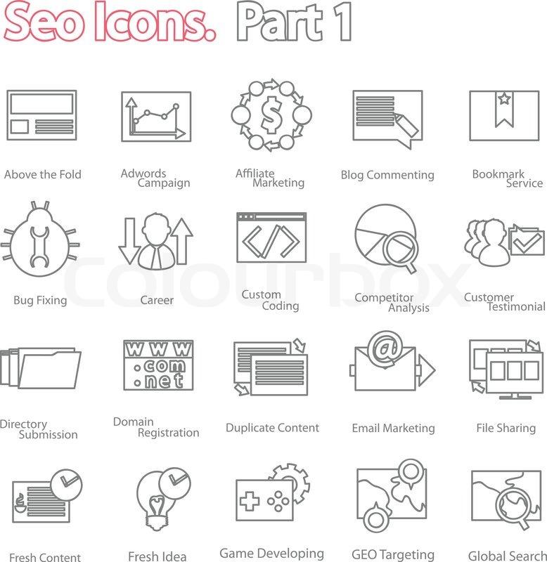 Seo icons set part 1  Line design     | Stock vector | Colourbox
