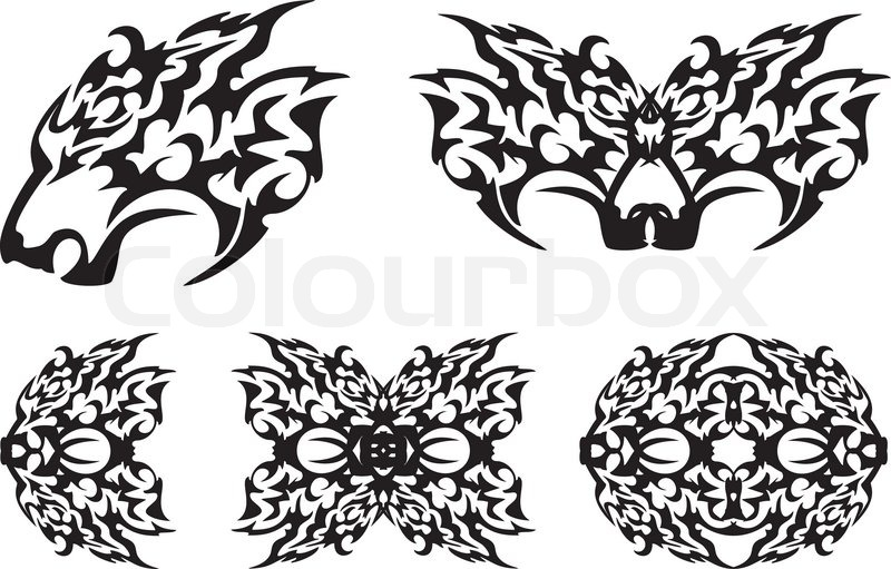 set of tribal symbols isolated on a white background stock vector