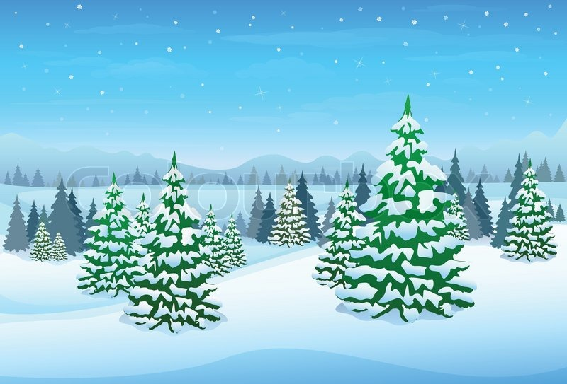 Winter Forest Landscape Christmas Background Pine Snow