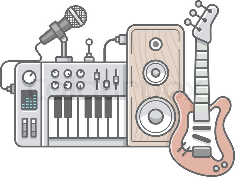 vector illustration of music tools in stock vector colourbox. Black Bedroom Furniture Sets. Home Design Ideas