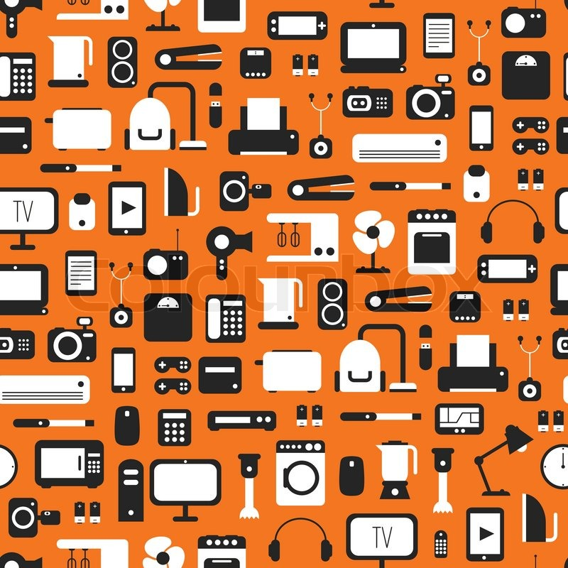Seamless pattern of electronic devices and home appliances colorful ...