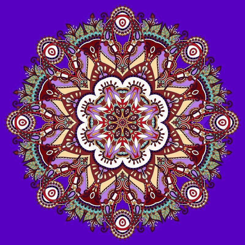 Violet colour mandala circle decorative spiritual indian symbol of violet colour mandala circle decorative spiritual indian symbol of lotus flower round ornament pattern vector illustration stock vector colourbox mightylinksfo
