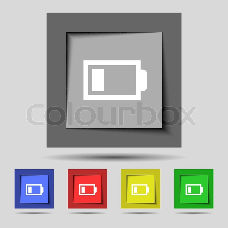 Battery low level sign icon. Electricity symbol. Set of colour ...