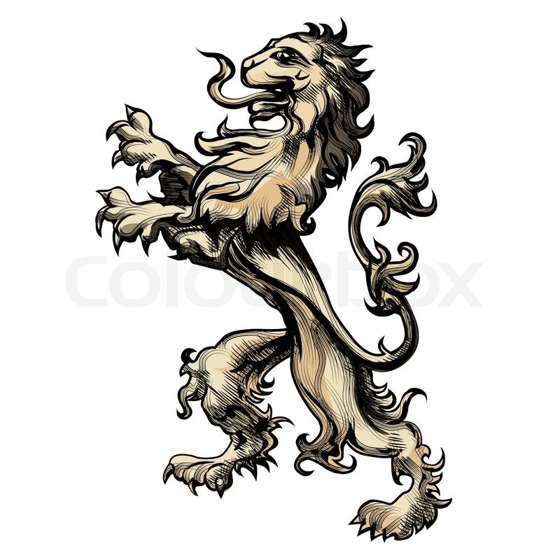 Illustration of heraldry lion drawn in engraving style ...
