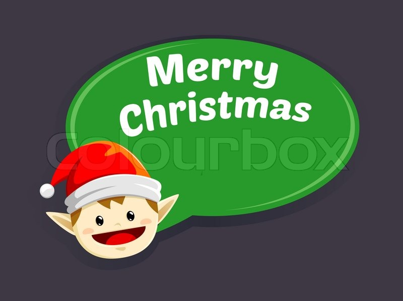 Vector illustration of Elf saying merry christmas | Stock Vector ...