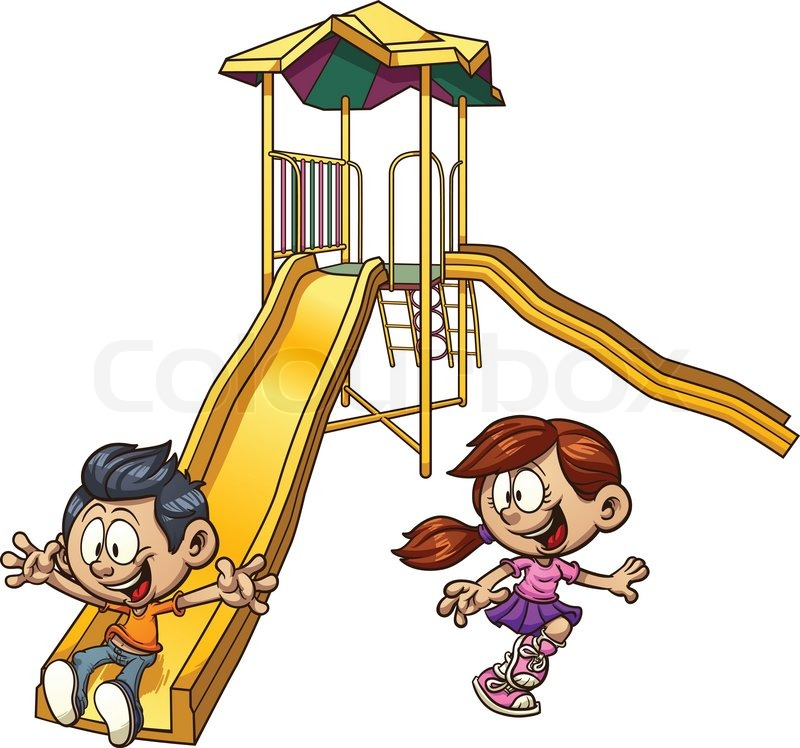 Cartoon kids playing on a slide. Vector clip art illustration with simple gradients. Each on a ...