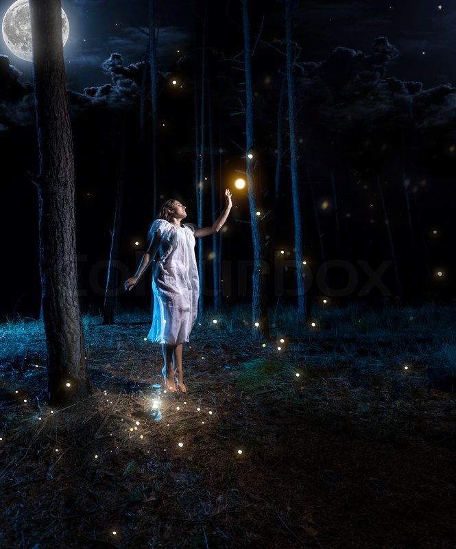lost young woman at night forest with full moon jumping high to