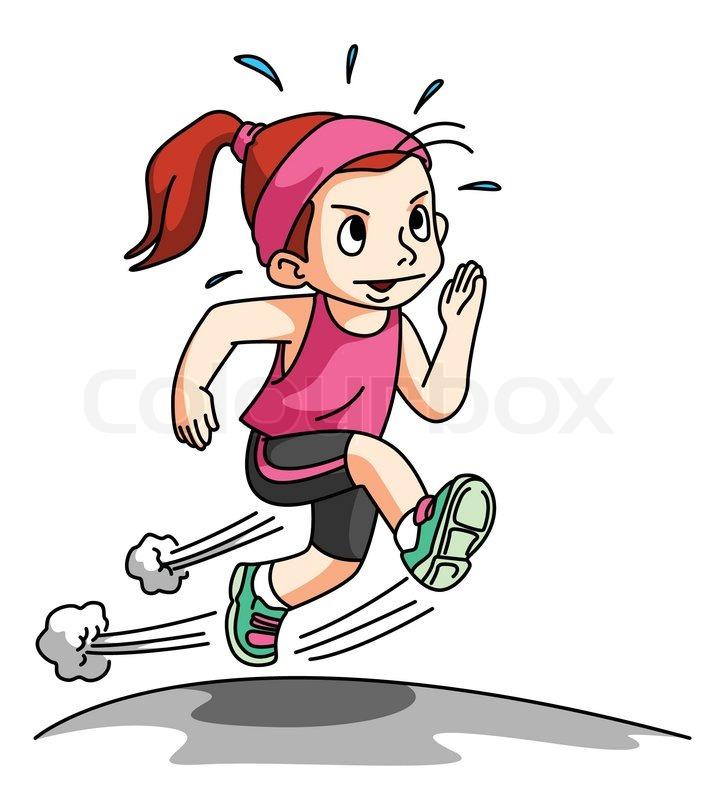 girl running exercise isolated on white stock vector colourbox rh colourbox com cartoon girl running fast cartoon girl running gif
