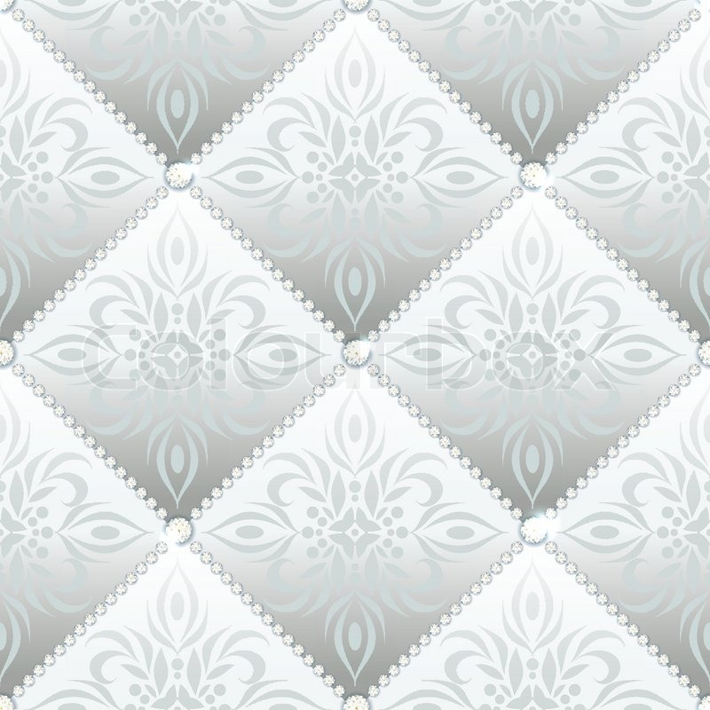 Silver Glamor Satin Quilted Seamless Texture Of Fabric