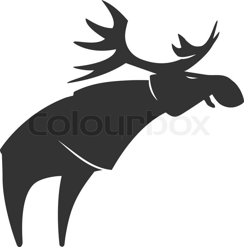 Stylized silhouette moose logo vector emblem illustration ...