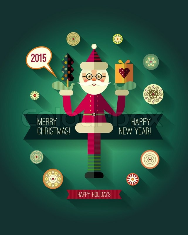 Flat design concepts for Merry Christmas and Happy New Year cards. Flat Santa Claus icon. Trendy ...