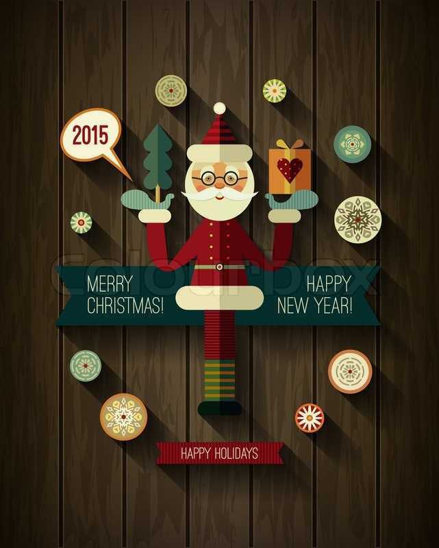 flat design concepts for merry christmas and happy new year cards xmas icons flat santa claus snowflakes and 2015 icons with long shadow on wood texture