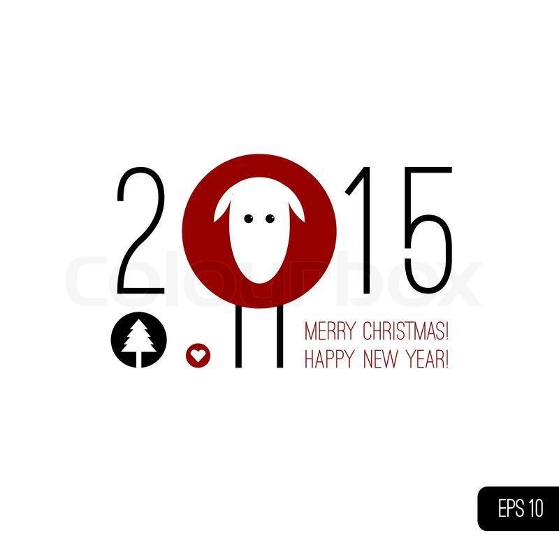 2015 writing with symbol of chinese horoscope - sheep isolated on ...