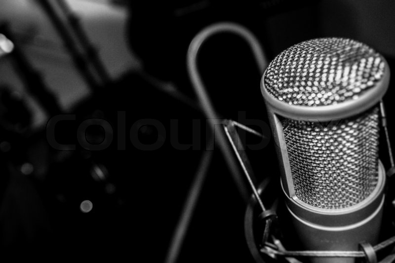 Studio microphone in shock mouth at studio, stock photo